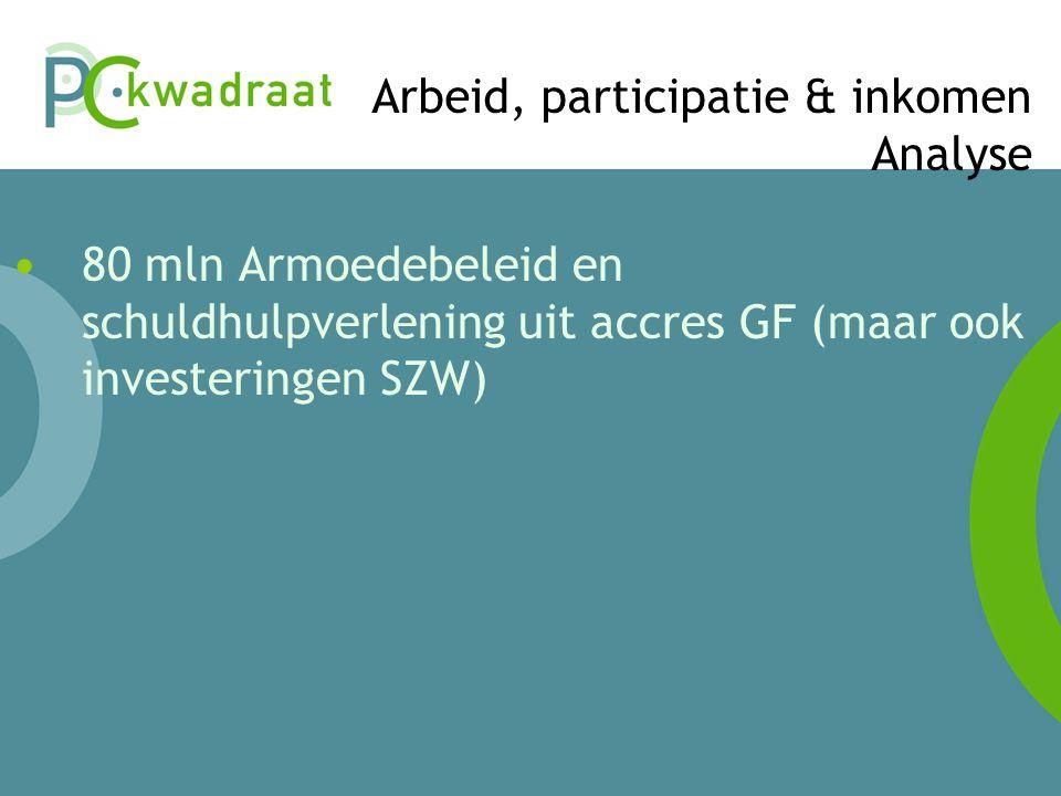 Arbeid, participatie & inkomen Analyse • 80 mln Armoedebeleid en schuldhulpverlening uit accres GF (maar ook investeringen SZW)