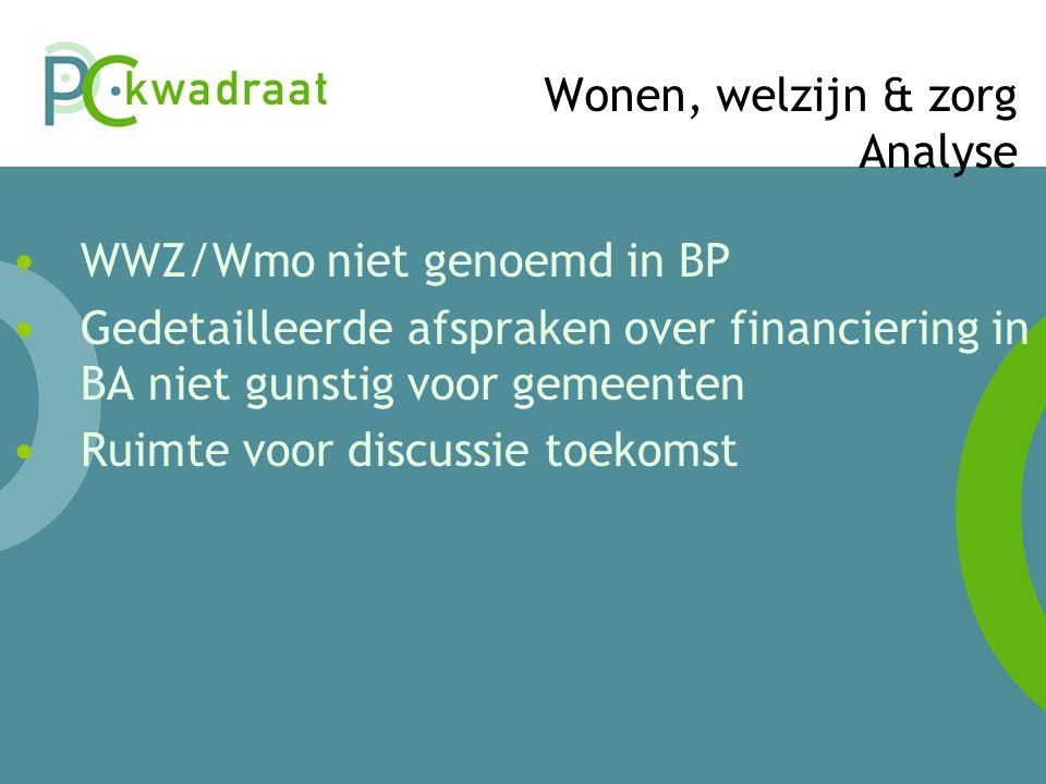 Wonen, welzijn & zorg Analyse • WWZ/Wmo niet genoemd in BP • Gedetailleerde afspraken over financiering in BA niet gunstig voor gemeenten • Ruimte voor discussie toekomst