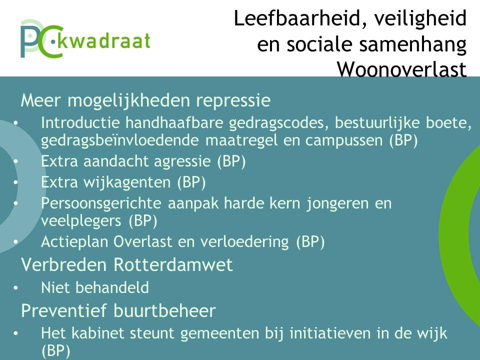 Leefbaarheid, veiligheid en sociale samenhang Woonoverlast • Meer mogelijkheden repressie • Introductie handhaafbare gedragscodes, bestuurlijke boete, gedragsbeïnvloedende maatregel en campussen (BP) • Extra aandacht agressie (BP) • Extra wijkagenten (BP) • Persoonsgerichte aanpak harde kern jongeren en veelplegers (BP) • Actieplan Overlast en verloedering (BP) • Verbreden Rotterdamwet • Niet behandeld • Preventief buurtbeheer • Het kabinet steunt gemeenten bij initiatieven in de wijk (BP)