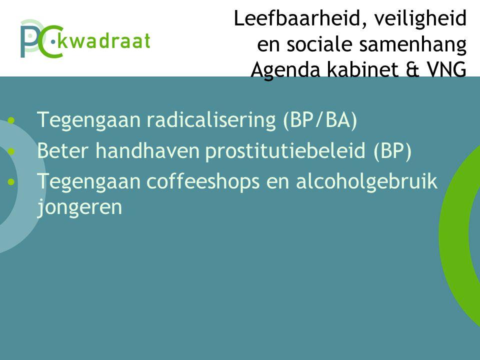 Leefbaarheid, veiligheid en sociale samenhang Agenda kabinet & VNG • Tegengaan radicalisering (BP/BA) • Beter handhaven prostitutiebeleid (BP) • Tegengaan coffeeshops en alcoholgebruik jongeren