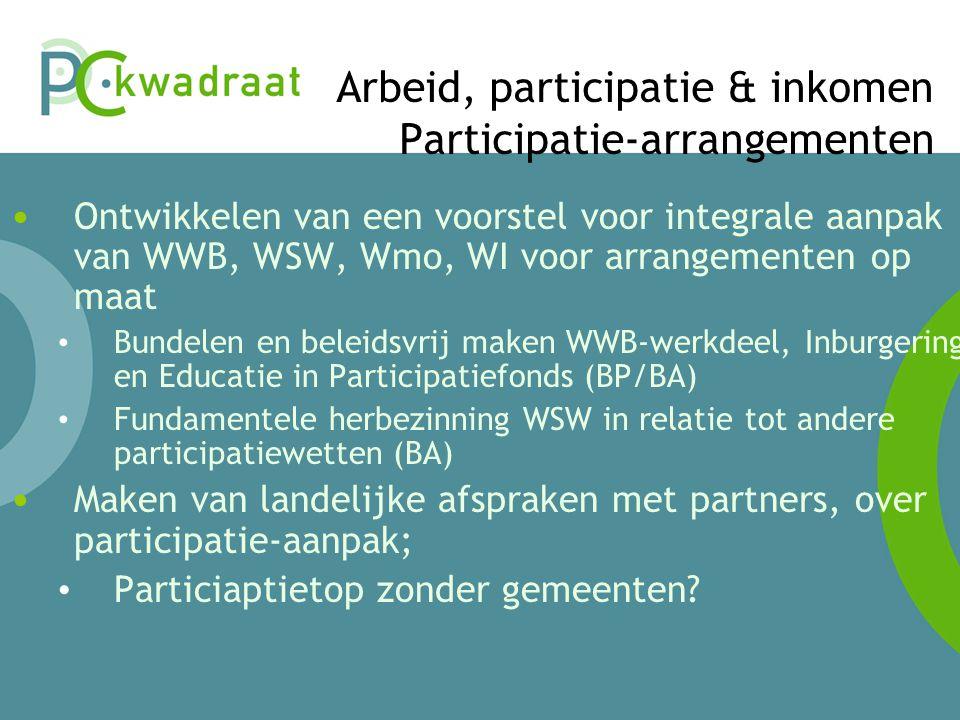 Arbeid, participatie & inkomen Participatie-arrangementen • Ontwikkelen van een voorstel voor integrale aanpak van WWB, WSW, Wmo, WI voor arrangementen op maat • Bundelen en beleidsvrij maken WWB-werkdeel, Inburgering en Educatie in Participatiefonds (BP/BA) • Fundamentele herbezinning WSW in relatie tot andere participatiewetten (BA) • Maken van landelijke afspraken met partners, over participatie-aanpak; • Particiaptietop zonder gemeenten?