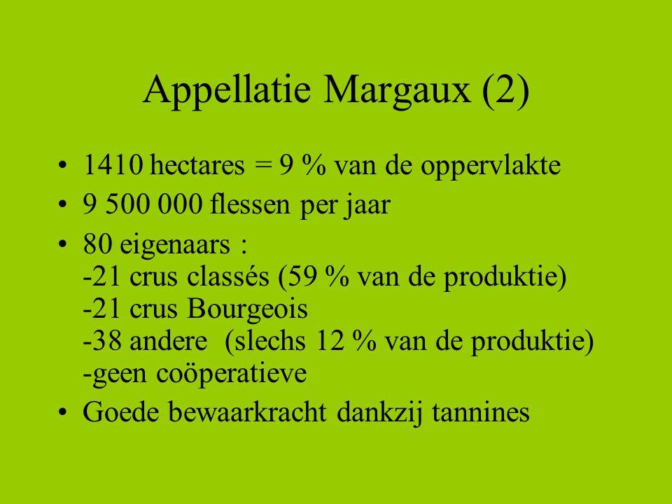 Appellatie Margaux (2) •1410 hectares = 9 % van de oppervlakte •9 500 000 flessen per jaar •80 eigenaars : -21 crus classés (59 % van de produktie) -21 crus Bourgeois -38 andere (slechs 12 % van de produktie) -geen coöperatieve •Goede bewaarkracht dankzij tannines