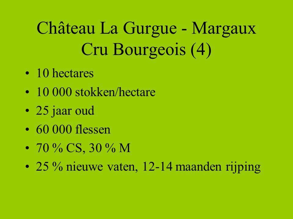 Château La Gurgue - Margaux Cru Bourgeois (4) •10 hectares •10 000 stokken/hectare •25 jaar oud •60 000 flessen •70 % CS, 30 % M •25 % nieuwe vaten, 12-14 maanden rijping