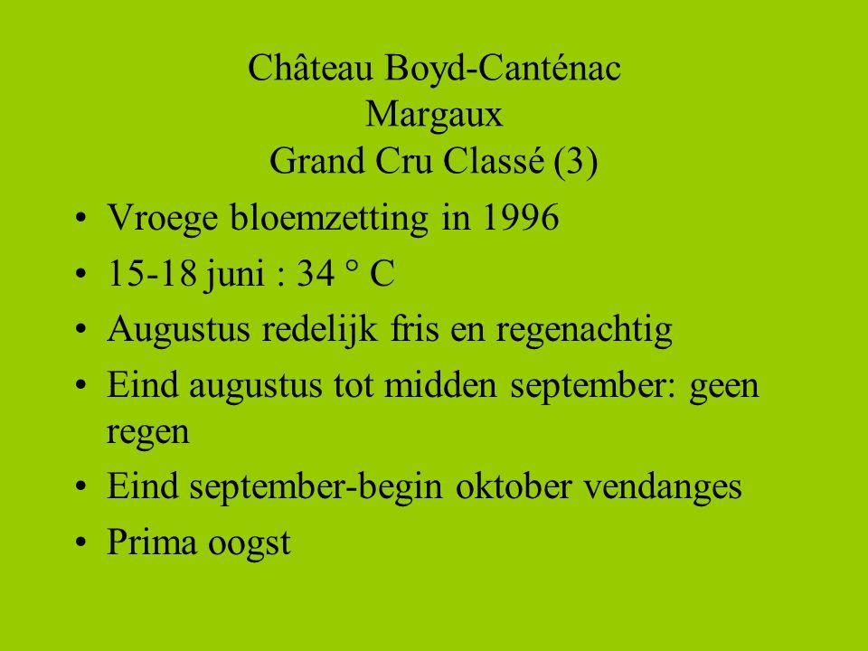 Château Boyd-Canténac Margaux Grand Cru Classé (3) •Vroege bloemzetting in 1996 •15-18 juni : 34 ° C •Augustus redelijk fris en regenachtig •Eind augustus tot midden september: geen regen •Eind september-begin oktober vendanges •Prima oogst