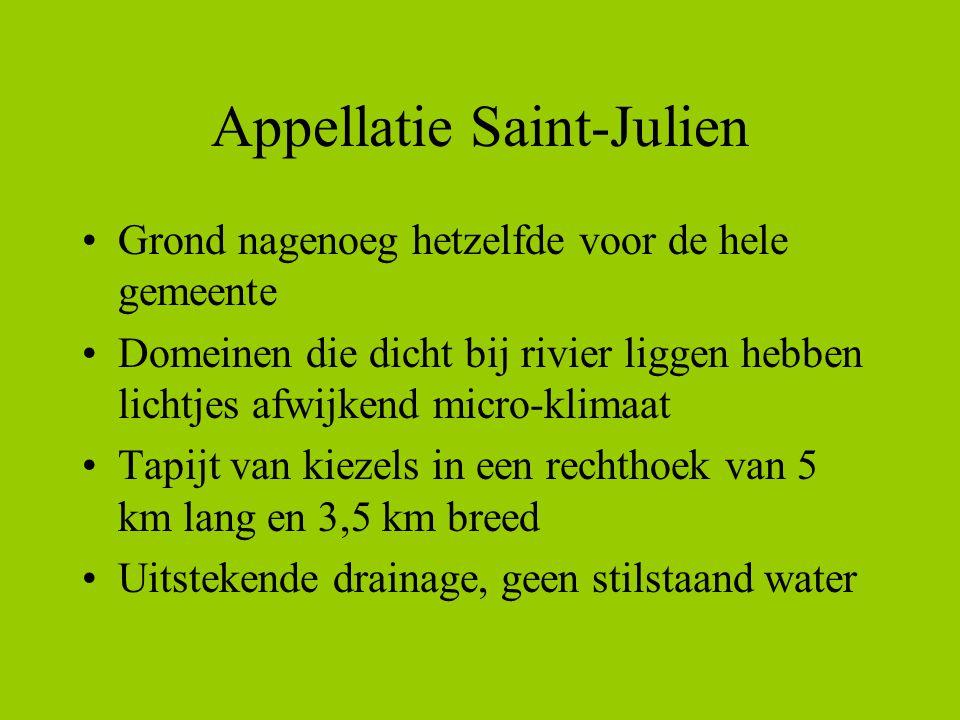 Appellatie Saint-Julien •Grond nagenoeg hetzelfde voor de hele gemeente •Domeinen die dicht bij rivier liggen hebben lichtjes afwijkend micro-klimaat •Tapijt van kiezels in een rechthoek van 5 km lang en 3,5 km breed •Uitstekende drainage, geen stilstaand water