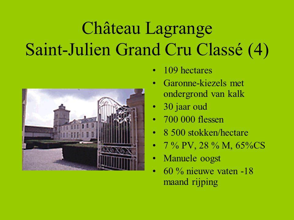 Château Lagrange Saint-Julien Grand Cru Classé (4) •109 hectares •Garonne-kiezels met ondergrond van kalk •30 jaar oud •700 000 flessen •8 500 stokken/hectare •7 % PV, 28 % M, 65%CS •Manuele oogst •60 % nieuwe vaten -18 maand rijping