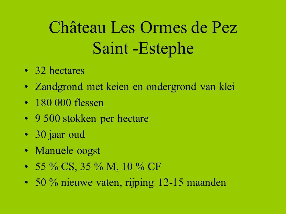 Château Les Ormes de Pez Saint -Estephe •32 hectares •Zandgrond met keien en ondergrond van klei •180 000 flessen •9 500 stokken per hectare •30 jaar oud •Manuele oogst •55 % CS, 35 % M, 10 % CF •50 % nieuwe vaten, rijping 12-15 maanden