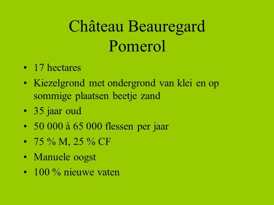 Château Beauregard Pomerol •17 hectares •Kiezelgrond met ondergrond van klei en op sommige plaatsen beetje zand •35 jaar oud •50 000 à 65 000 flessen per jaar •75 % M, 25 % CF •Manuele oogst •100 % nieuwe vaten