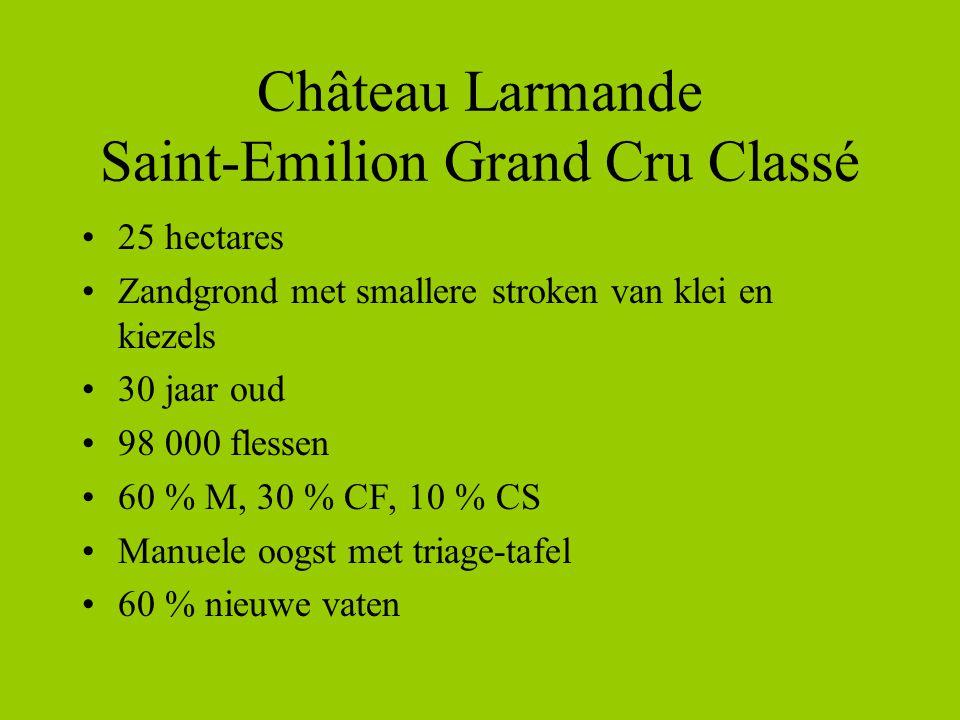 Château Larmande Saint-Emilion Grand Cru Classé •25 hectares •Zandgrond met smallere stroken van klei en kiezels •30 jaar oud •98 000 flessen •60 % M, 30 % CF, 10 % CS •Manuele oogst met triage-tafel •60 % nieuwe vaten