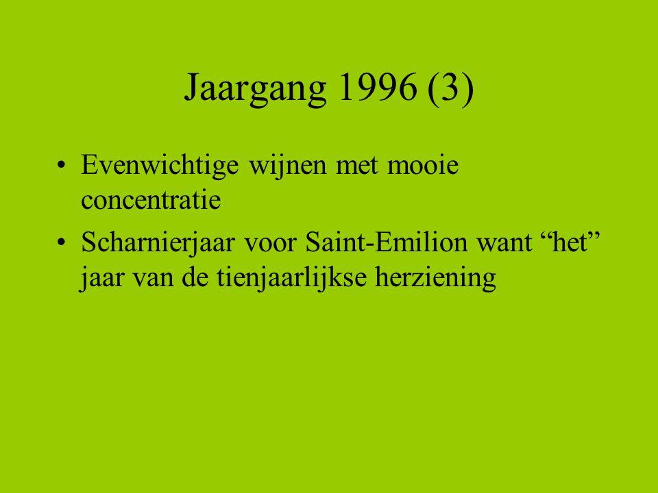 Jaargang 1996 (3) •Evenwichtige wijnen met mooie concentratie •Scharnierjaar voor Saint-Emilion want het jaar van de tienjaarlijkse herziening
