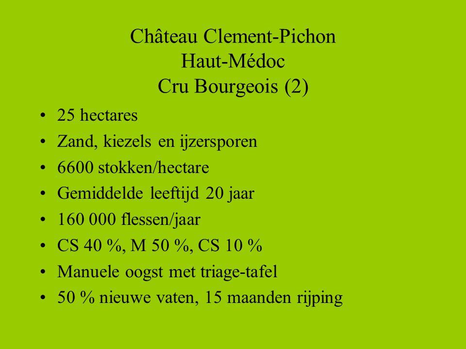 Château Clement-Pichon Haut-Médoc Cru Bourgeois (2) •25 hectares •Zand, kiezels en ijzersporen •6600 stokken/hectare •Gemiddelde leeftijd 20 jaar •160 000 flessen/jaar •CS 40 %, M 50 %, CS 10 % •Manuele oogst met triage-tafel •50 % nieuwe vaten, 15 maanden rijping