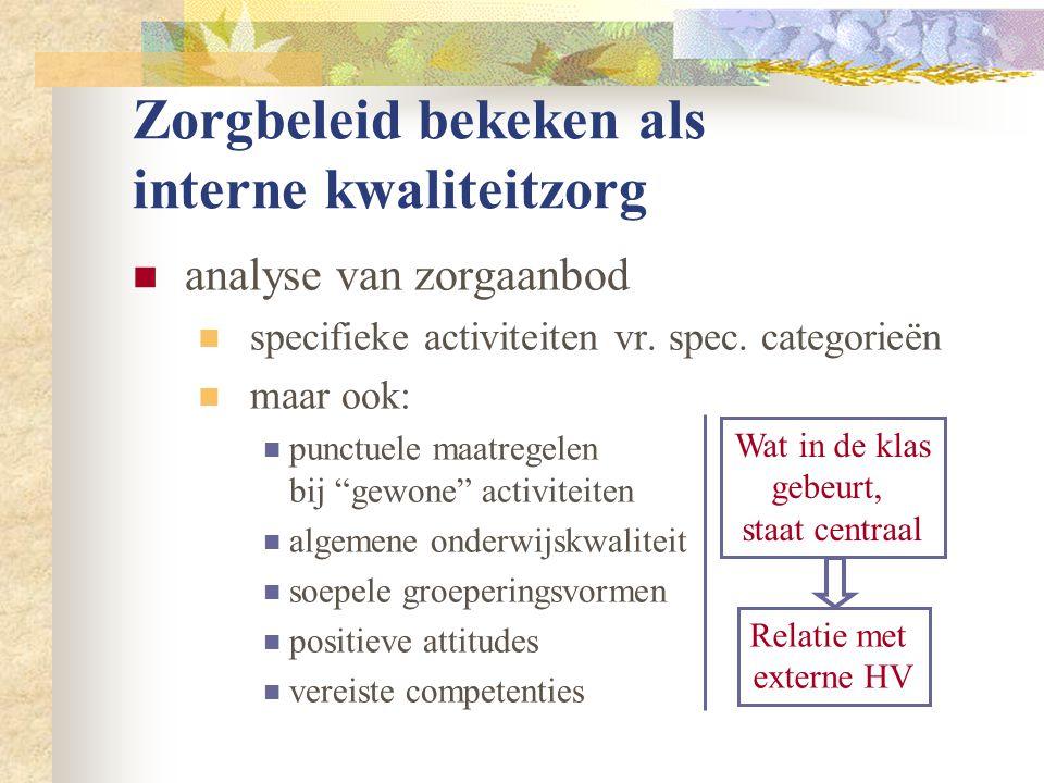 Zorgbeleid bekeken als interne kwaliteitzorg  analyse van zorgaanbod  specifieke activiteiten vr. spec. categorieën  maar ook:  punctuele maatrege