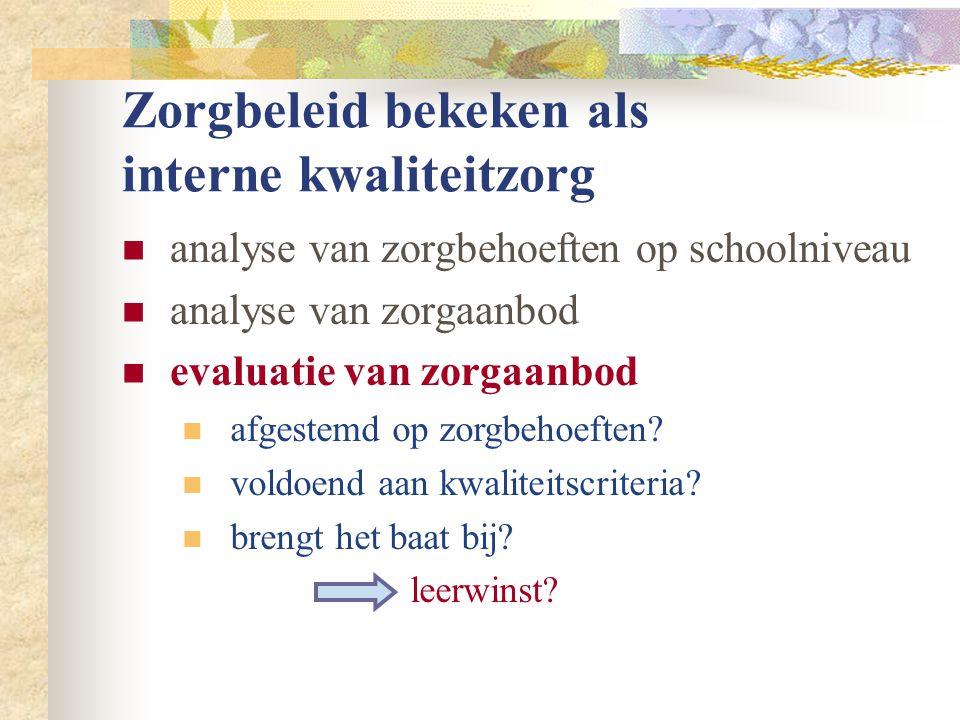 Zorgbeleid bekeken als interne kwaliteitzorg  analyse van zorgbehoeften op schoolniveau  analyse van zorgaanbod  evaluatie van zorgaanbod  afgestemd op zorgbehoeften.