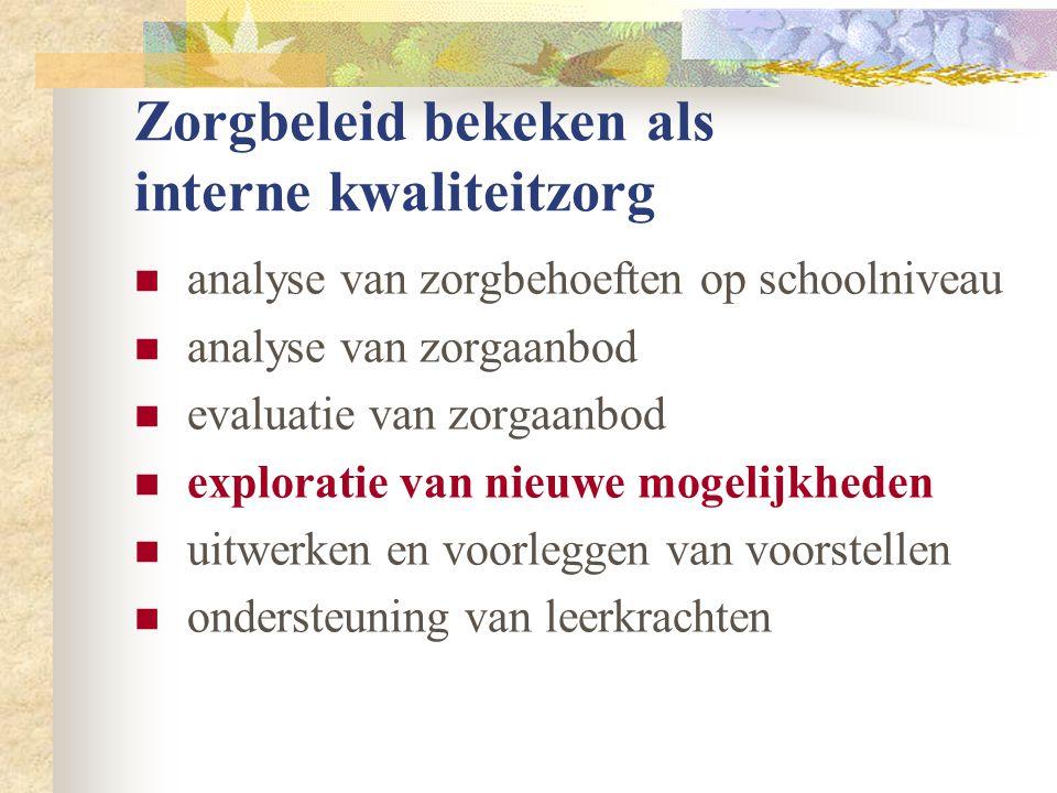  analyse van zorgbehoeften op schoolniveau  analyse van zorgaanbod  evaluatie van zorgaanbod  exploratie van nieuwe mogelijkheden  uitwerken en voorleggen van voorstellen  ondersteuning van leerkrachten