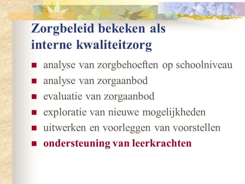 Zorgbeleid bekeken als interne kwaliteitzorg  analyse van zorgbehoeften op schoolniveau  analyse van zorgaanbod  evaluatie van zorgaanbod  exploratie van nieuwe mogelijkheden  uitwerken en voorleggen van voorstellen  ondersteuning van leerkrachten