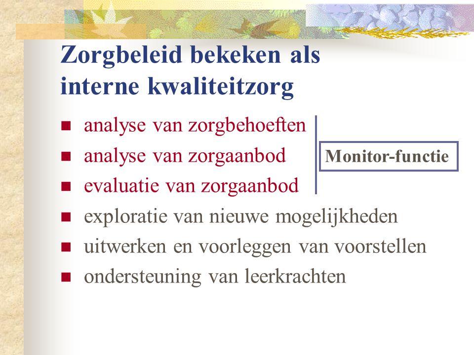 Zorgbeleid bekeken als interne kwaliteitzorg  analyse van zorgbehoeften  analyse van zorgaanbod  evaluatie van zorgaanbod  exploratie van nieuwe mogelijkheden  uitwerken en voorleggen van voorstellen  ondersteuning van leerkrachten Monitor-functie