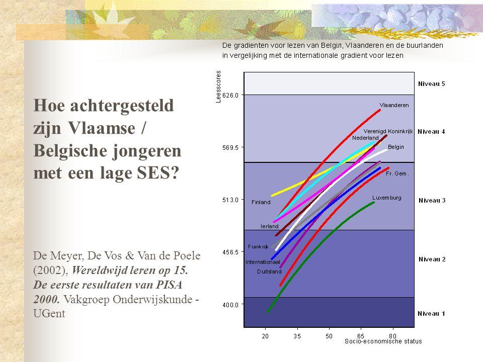 Hoe achtergesteld zijn Vlaamse / Belgische jongeren met een lage SES? De Meyer, De Vos & Van de Poele (2002), Wereldwijd leren op 15. De eerste result