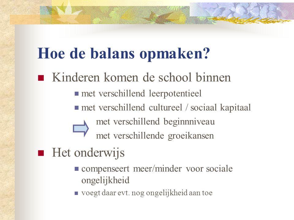 Hoe de balans opmaken?  Kinderen komen de school binnen  met verschillend leerpotentieel  met verschillend cultureel / sociaal kapitaal met verschi