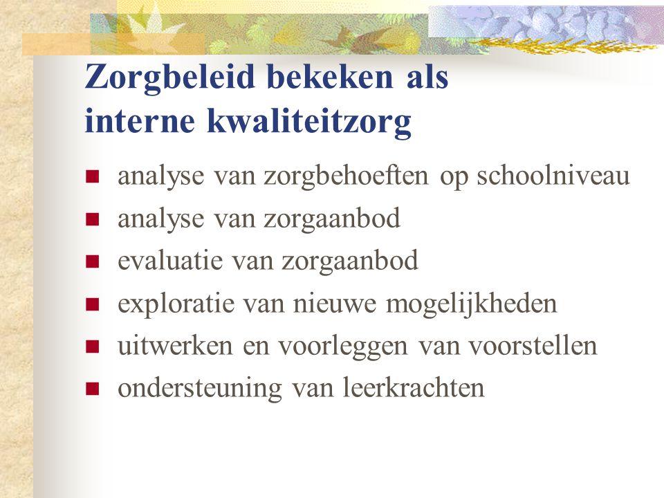 Zorgbeleid bekeken als interne kwaliteitzorg  analyse van zorgbehoeften op schoolniveau  analyse van zorgaanbod  evaluatie van zorgaanbod  explora