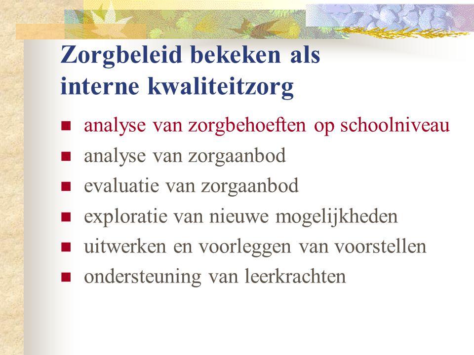Zorgbeleid bekeken als interne kwaliteitzorg  analyse van zorgbehoeften op schoolniveau  leer- / ontwikkelingsachterstand: wie, hoeveel.