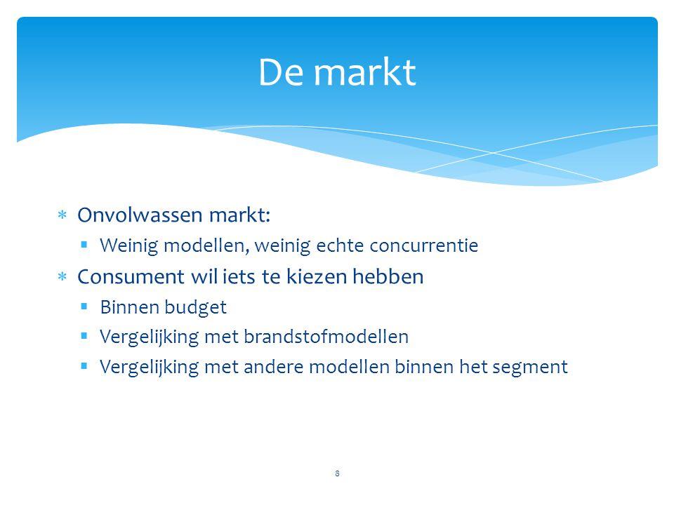 De markt 8  Onvolwassen markt:  Weinig modellen, weinig echte concurrentie  Consument wil iets te kiezen hebben  Binnen budget  Vergelijking met