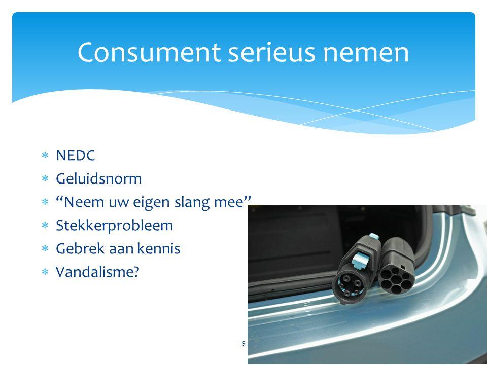 """Consument serieus nemen 9  NEDC  Geluidsnorm  """"Neem uw eigen slang mee""""  Stekkerprobleem  Gebrek aan kennis  Vandalisme?"""