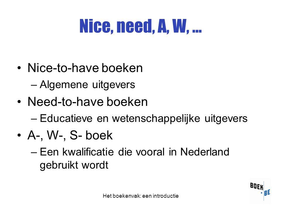 Het boekenvak: een introductie Nice, need, A, W, … •Nice-to-have boeken –Algemene uitgevers •Need-to-have boeken –Educatieve en wetenschappelijke uitgevers •A-, W-, S- boek –Een kwalificatie die vooral in Nederland gebruikt wordt