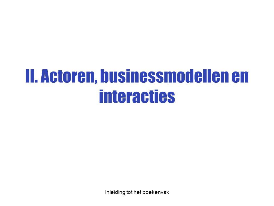 II. Actoren, businessmodellen en interacties Inleiding tot het boekenvak