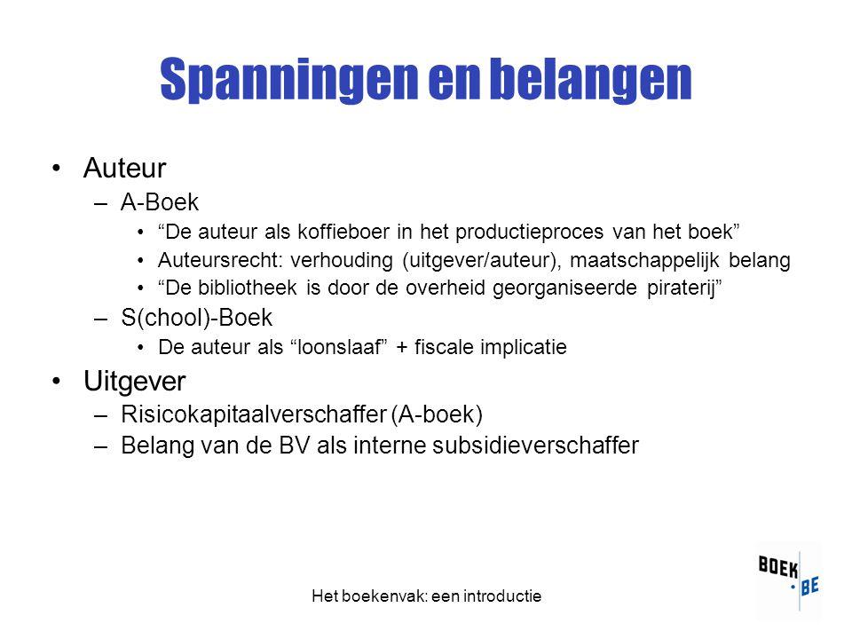 Het boekenvak: een introductie Spanningen en belangen •Auteur –A-Boek • De auteur als koffieboer in het productieproces van het boek •Auteursrecht: verhouding (uitgever/auteur), maatschappelijk belang • De bibliotheek is door de overheid georganiseerde piraterij –S(chool)-Boek •De auteur als loonslaaf + fiscale implicatie •Uitgever –Risicokapitaalverschaffer (A-boek) –Belang van de BV als interne subsidieverschaffer