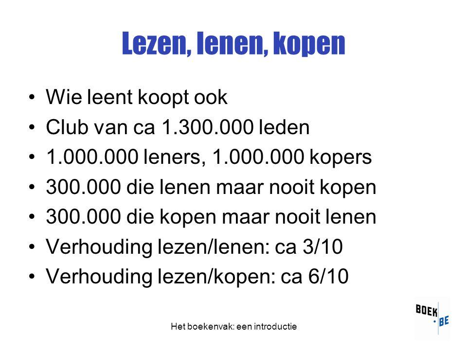 Het boekenvak: een introductie Lezen, lenen, kopen •Wie leent koopt ook •Club van ca 1.300.000 leden •1.000.000 leners, 1.000.000 kopers •300.000 die lenen maar nooit kopen •300.000 die kopen maar nooit lenen •Verhouding lezen/lenen: ca 3/10 •Verhouding lezen/kopen: ca 6/10