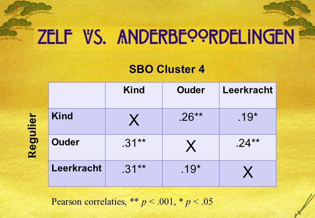 KindOuderLeerkracht Kind X.26**.19* Ouder.31** X.24** Leerkracht.31**.19* X SBO Cluster 4 Pearson correlaties, ** p <.001, * p <.05