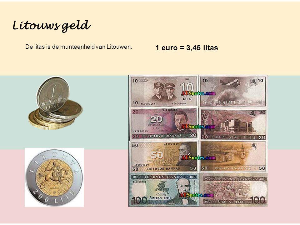 Litouws geld De litas is de munteenheid van Litouwen. 1 euro = 3,45 litas