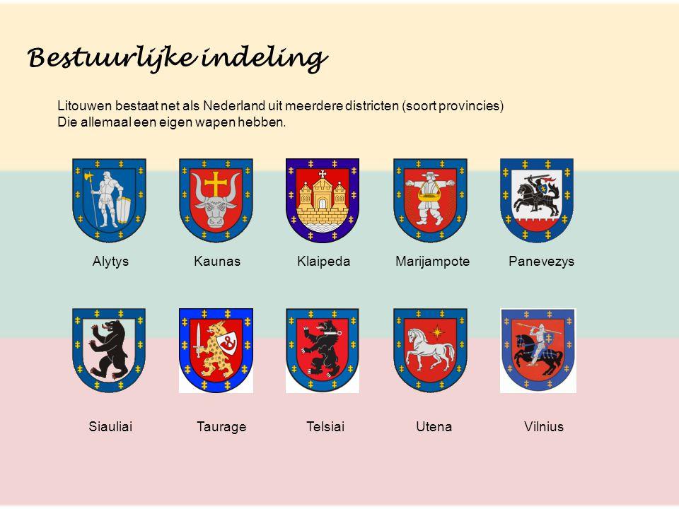 Bestuurlijke indeling Litouwen bestaat net als Nederland uit meerdere districten (soort provincies) Die allemaal een eigen wapen hebben. Alytys Kaunas