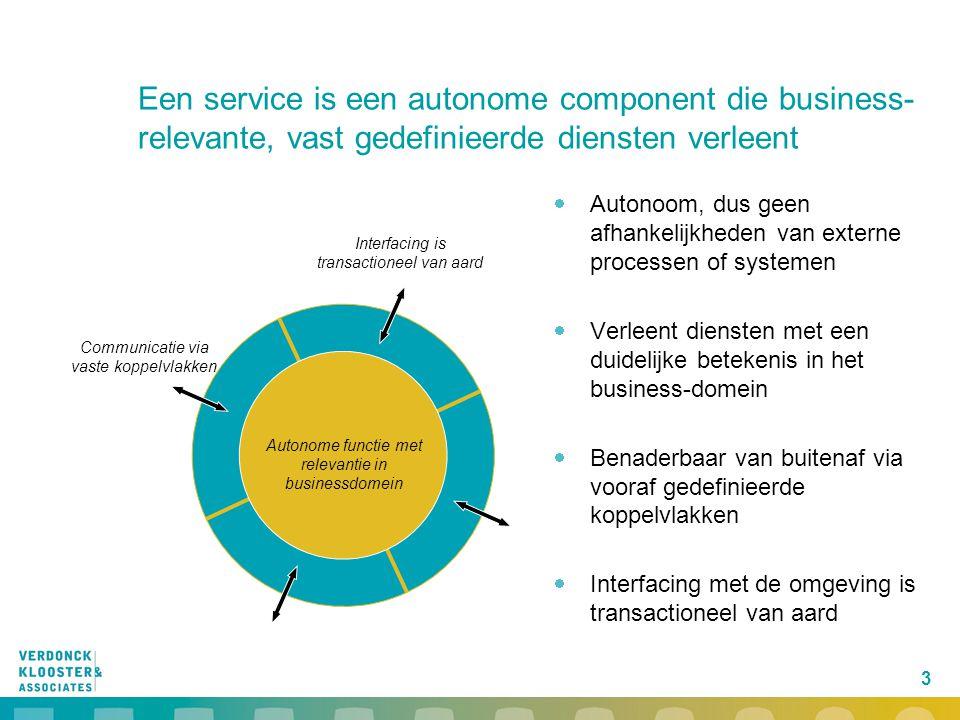 3 Een service is een autonome component die business- relevante, vast gedefinieerde diensten verleent  Autonoom, dus geen afhankelijkheden van extern