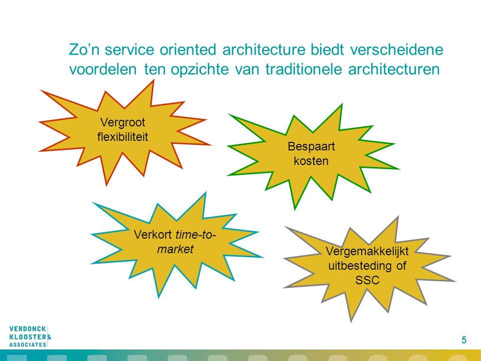 5 Zo'n service oriented architecture biedt verscheidene voordelen ten opzichte van traditionele architecturen Vergroot flexibiliteit Verkort time-to-