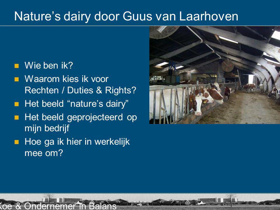 """Koe & Ondernemer in Balans Nature's dairy door Guus van Laarhoven  Wie ben ik?  Waarom kies ik voor Rechten / Duties & Rights?  Het beeld """"nature's"""