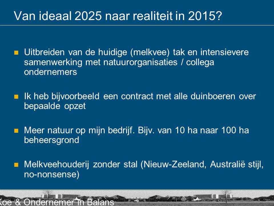 Koe & Ondernemer in Balans Van ideaal 2025 naar realiteit in 2015?  Uitbreiden van de huidige (melkvee) tak en intensievere samenwerking met natuuror