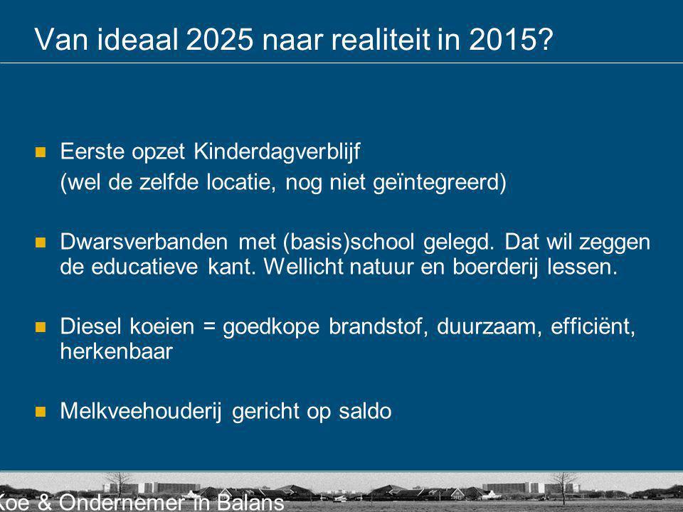 Koe & Ondernemer in Balans Van ideaal 2025 naar realiteit in 2015?  Eerste opzet Kinderdagverblijf (wel de zelfde locatie, nog niet geïntegreerd)  D