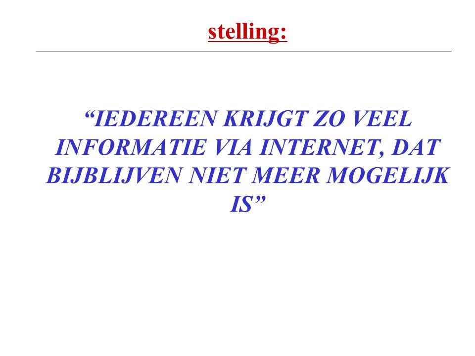 """stelling: """"IEDEREEN KRIJGT ZO VEEL INFORMATIE VIA INTERNET, DAT BIJBLIJVEN NIET MEER MOGELIJK IS"""""""