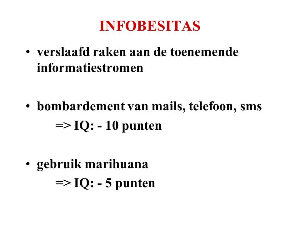 INFOBESITAS •verslaafd raken aan de toenemende informatiestromen •bombardement van mails, telefoon, sms => IQ: - 10 punten •gebruik marihuana => IQ: -