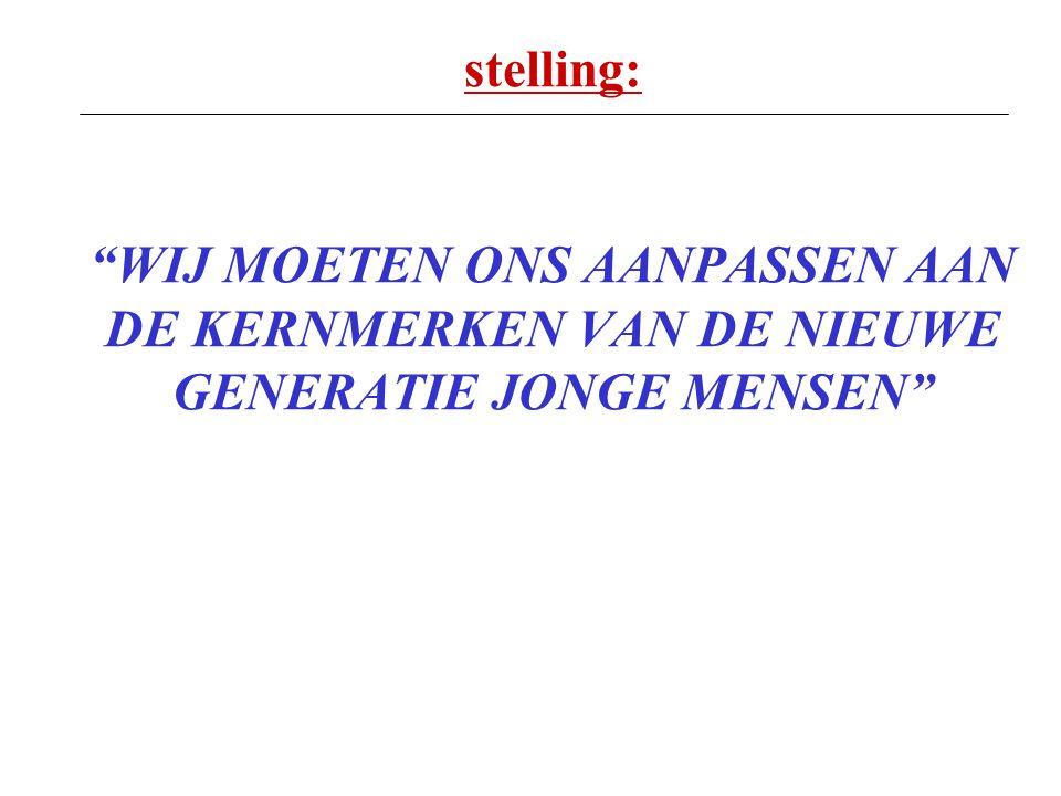 """stelling: """"WIJ MOETEN ONS AANPASSEN AAN DE KERNMERKEN VAN DE NIEUWE GENERATIE JONGE MENSEN"""""""