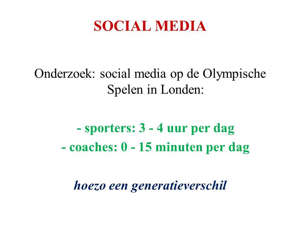 SOCIAL MEDIA Onderzoek: social media op de Olympische Spelen in Londen: - sporters: 3 - 4 uur per dag - coaches: 0 - 15 minuten per dag hoezo een gene