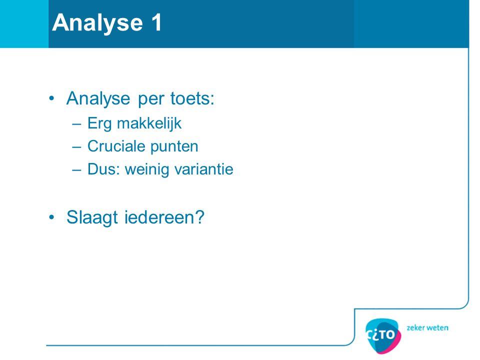 Analyse 1 •Analyse per toets: –Erg makkelijk –Cruciale punten –Dus: weinig variantie •Slaagt iedereen?