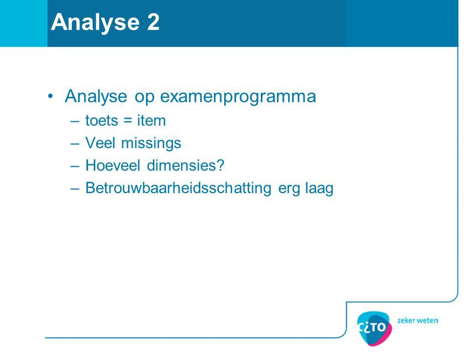 Analyse 2 •Analyse op examenprogramma –toets = item –Veel missings –Hoeveel dimensies? –Betrouwbaarheidsschatting erg laag
