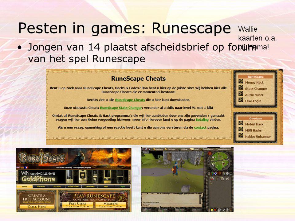 Pesten in games: Habbo Hotel •Spulletjes worden weggenomen - gestolen •Nep credits worden aangeboden (0900 nrs) •Accounts worden gekraakt http://www.habbo.nl/credits Retro hotels!