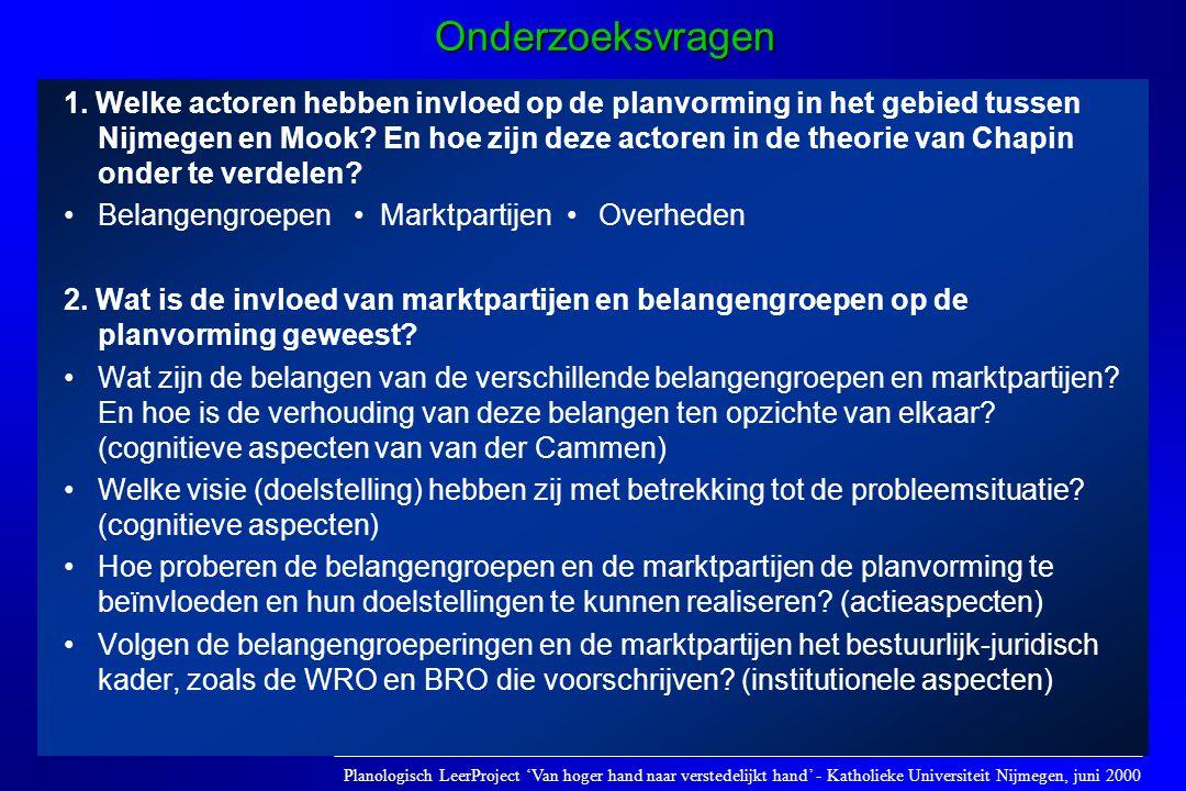 1. Welke actoren hebben invloed op de planvorming in het gebied tussen Nijmegen en Mook? En hoe zijn deze actoren in de theorie van Chapin onder te ve