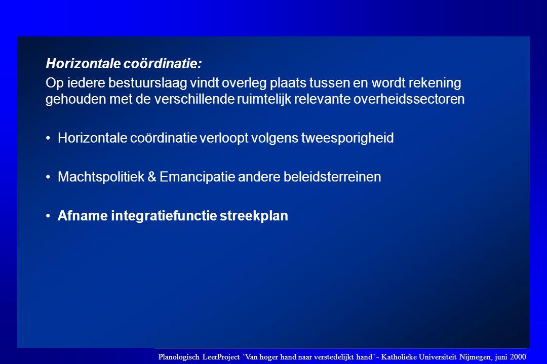 Horizontale coördinatie: Op iedere bestuurslaag vindt overleg plaats tussen en wordt rekening gehouden met de verschillende ruimtelijk relevante overh