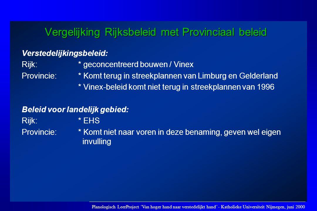 Vergelijking Rijksbeleid met Provinciaal beleid Verstedelijkingsbeleid: Rijk: * geconcentreerd bouwen / Vinex Provincie: * Komt terug in streekplannen