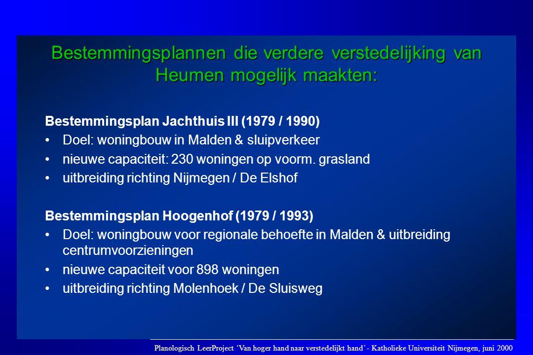 Bestemmingsplannen die verdere verstedelijking van Heumen mogelijk maakten: Bestemmingsplan Jachthuis III (1979 / 1990) •Doel: woningbouw in Malden &
