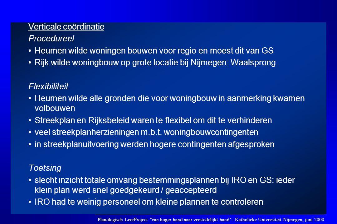 Verticale coördinatie Procedureel •Heumen wilde woningen bouwen voor regio en moest dit van GS •Rijk wilde woningbouw op grote locatie bij Nijmegen: W
